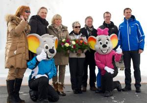Einweihung der Euromaus aus Eis mit Andrea Brunner, Jürgen und Mauritia Mack, Barbara und Günter Gorecky, Christian Gantner und Markus Wallner