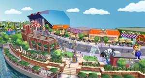 Konzeptgrafik zu Springfield, dem Simpsons-Themenbereich im Universal Orlando Resort