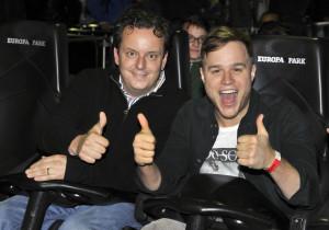 """Michael Mack, Europa-Park, freut sich mit Olly Murs auf die """"Silver Star""""-Fahrt"""