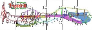 Die komplette Streckenführung der Katapult-Achterbahn Karacho in Tripsdrill