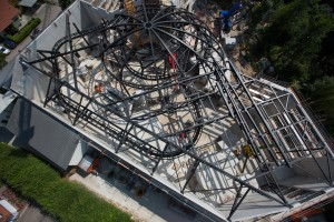 Luftaufnahme der Arthur-Baustelle im Europa-Park Rust