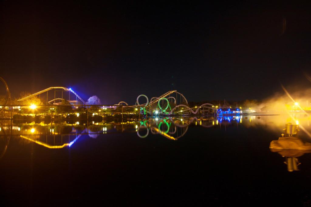 Heide-Park Achterbahnen bei Nacht