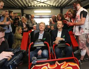 Steve Van den Kerkhof und Bernd Beitz bei der Pressefahrt von Sky Scream. (Foto: Holiday Park)