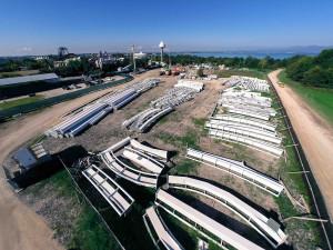 Gardaland Dive Coaster Baustelle Übersicht der Schienen