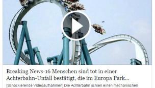 """""""16 Menschen bei Achterbahn-Unfall im Europa-Park gestorben"""" – Vorsicht, Fake!"""