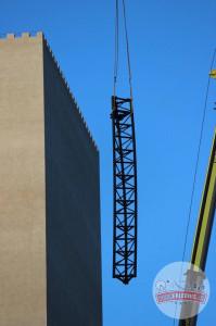 Hansa-Park - KÄRNAN Schienen kommen in den Turm - Baustellenbilder 1