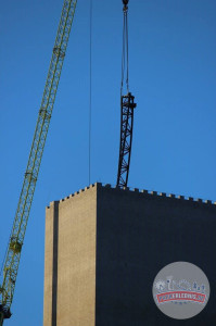 Hansa-Park - KÄRNAN Schienen kommen in den Turm - Baustellenbilder 3