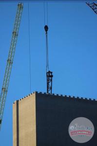 Hansa-Park - KÄRNAN Schienen kommen in den Turm - Baustellenbilder 4
