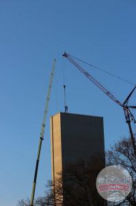Hansa-Park - KÄRNAN Schienen kommen in den Turm - Baustellenbilder 5