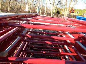 Neue Lackierung der Skyline Park Achterbahn