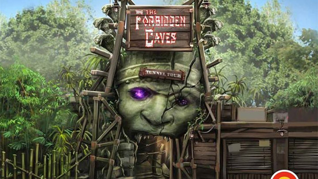 The Forbidden Caves - Eingang Artwork - Bobbejaanland