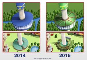 Europa-Park Euro-Tower 2015 - Unterschiede