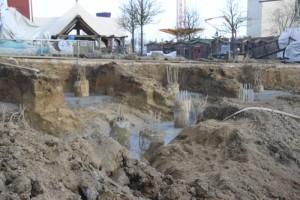 Hansa-Park - KÄRNAN Baustelle -Die Bohrpfahlköpfe sind freigelegt