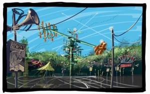 """Sky Fly entsteht an einem zentralen Knotenpunkt, der die Themenbereiche """"Wikingerdorf und """"Sky Scream"""" verbindet. (Foto: Holiday Park)"""