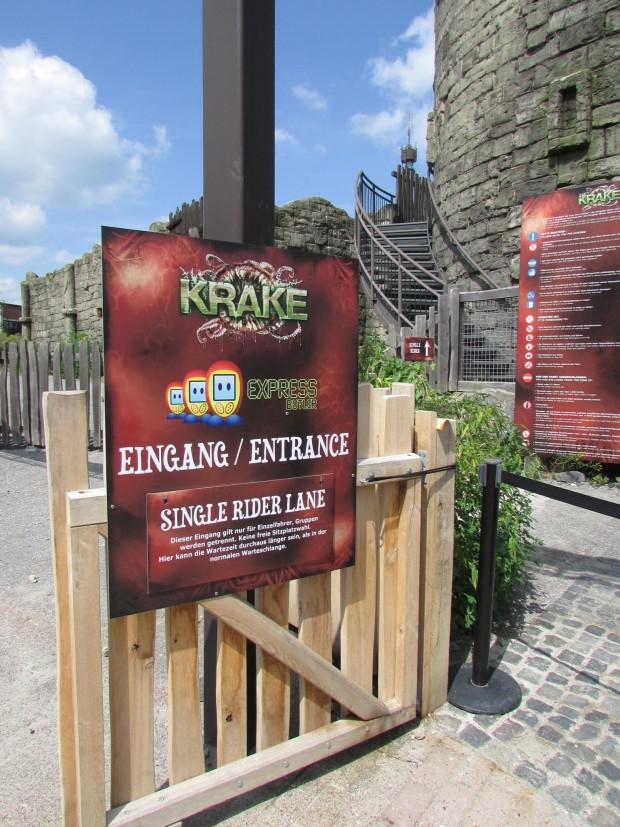 Krake Single Rider-Eingang im Heide Park