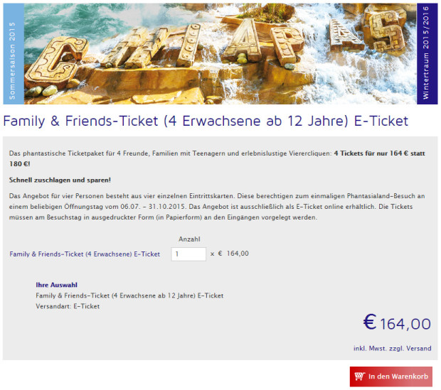 Phantasialand Family & Friends-Ticket 2015