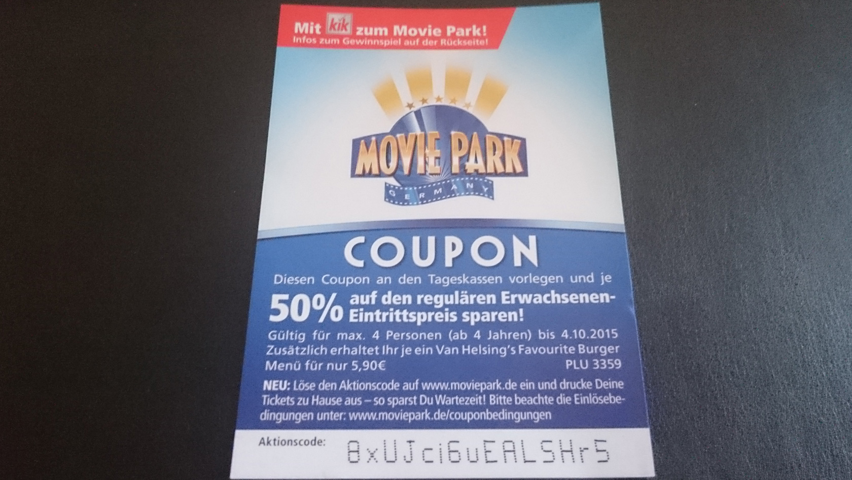 movie park coupon 2015 von kik 50 prozent rabatt sichern. Black Bedroom Furniture Sets. Home Design Ideas