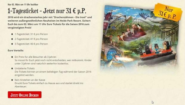 Heide Park Frühbucher-Ticket 2016 - Verlängerung
