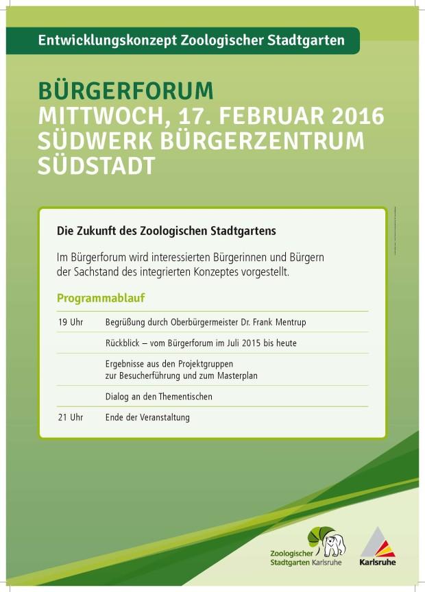 Karlsruhe Bürgerforum Februar 2016 Programm
