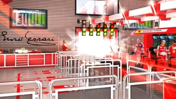 PortAventura Ferrari Land Achterbahn Station Artwork
