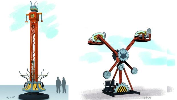 """Konzeptgrafiken zu """"Crash"""" und """"AirObot"""" im FORT FUN Abenteuerland"""