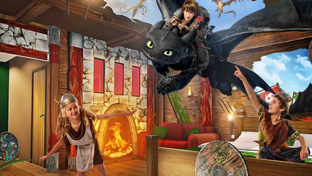 Artworks zu den Drachenzähmen-Zimmern im Heide Park