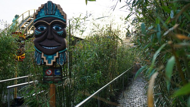 """Heide Park Holzachterbahn """"Colossos"""" - Pflanzen im Wartebereich"""