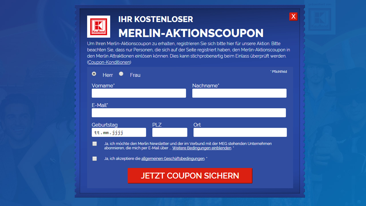 kaufland und merlin verteilen 2016 gratis coupons f r freizeit aktivit ten. Black Bedroom Furniture Sets. Home Design Ideas