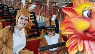 Osterhasen im Dinolino VR-Ride im Erlebnispark Schloss Thurn