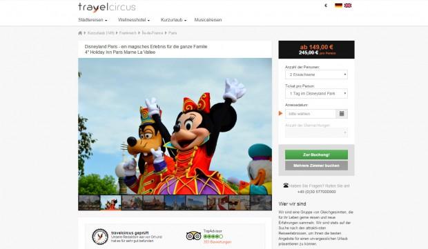 Disneyland Paris Angebot mit Übernachtung im Holiday in 04/2016 bei TravelCircus