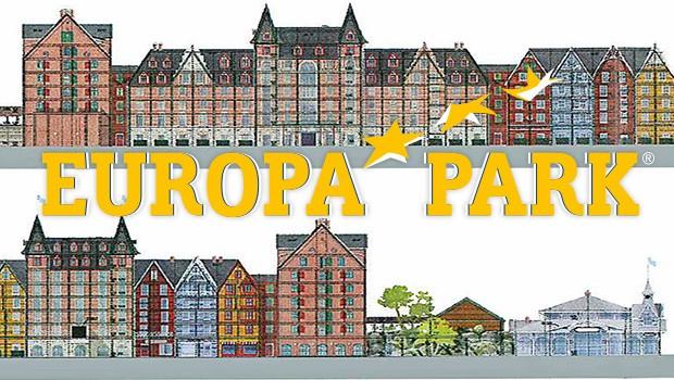 Artwork der Fassade des Europa-Park-Wasserpark-Hotels