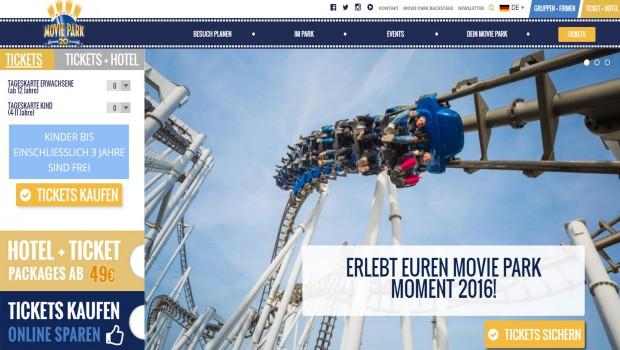 Movie Park Germany Homepage 2016