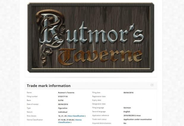"""Rutmor's Taverne"" in Klugheim - Markenanmeldung im Phantasialand"