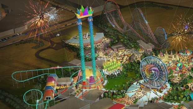 Six Flags Dubai Artwork - Holzachterbahn und Free-Fall-Tower