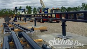 """""""Sky Dragster""""-Baustelle im Blick: Erste Schienen der Weltneuheit im Skyline Park montiert"""