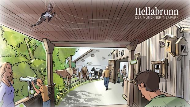 Tierpark Hellabrunn - Mühlendorf Eingang - Konzeptgrafik