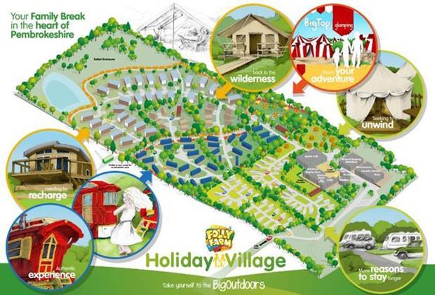 Folly Farm Feriendorf Plan