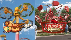 "Die Neuheiten ""Falcon's Flight"" und ""Mustang Run"". (Foto: Worlds of Fun)"