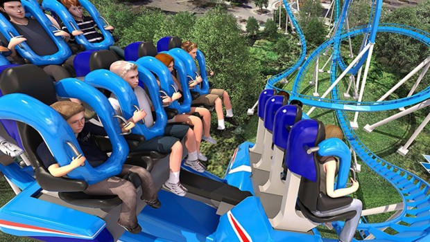 "Der Floorless-Coaster ""Patriot"" 2017 neu in California's Great America - Artwork"
