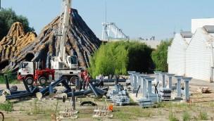 Movie Park Achterbahn 2017 - Baustellenbilder - erste Stützen
