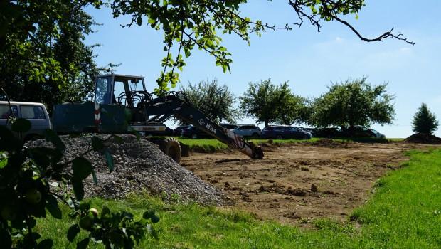 Schwaben-Park Baustelle der Blockhütten im August 2016