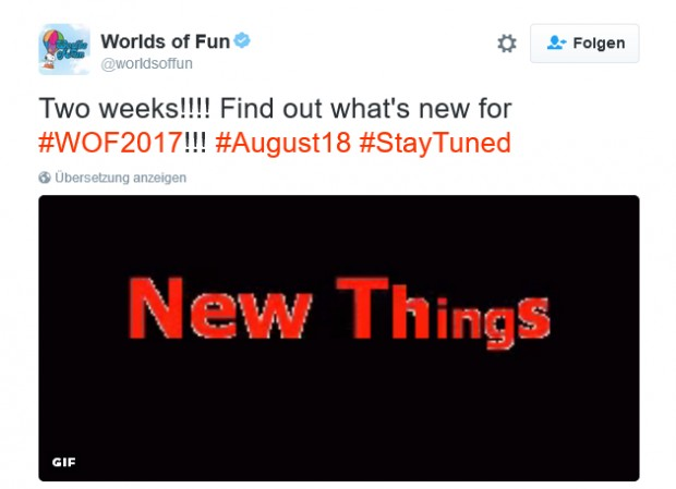 Worlds of Fun präsentiert Neuheit 2017 am 18. August 2016
