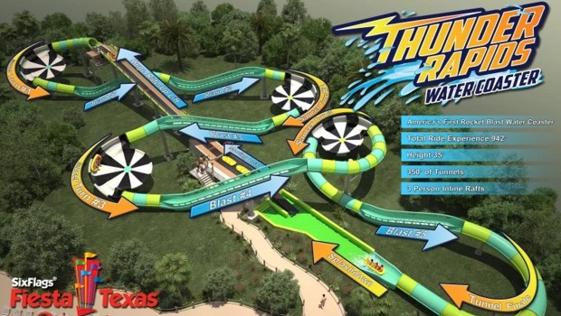 Thunder Rapids Water Coaster Six Flags Texas 2017 Artwork