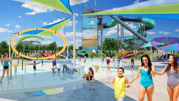 """""""Mean Streak"""" in Cedar Point im Hintergrund von Wasserpark-Artwork"""