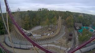"""Mystic Timbers""-Baustelle im Blick: Erste Abfahrt der neuen Holzachterbahn für 2017 in Kings Island fast fertiggestellt"