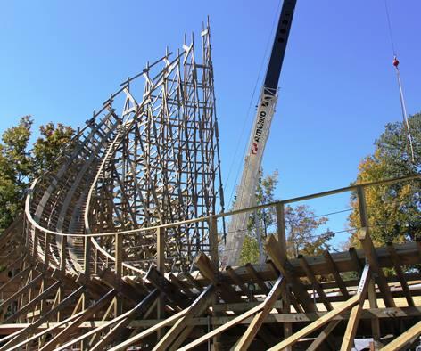 """""""Mystic Timbers""""-Baustelle in Kings Island im Oktober 2016"""