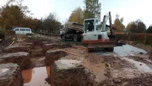Baustelle von ERLIs Wackelstein im Erlebnispark Steinau (November 2016)