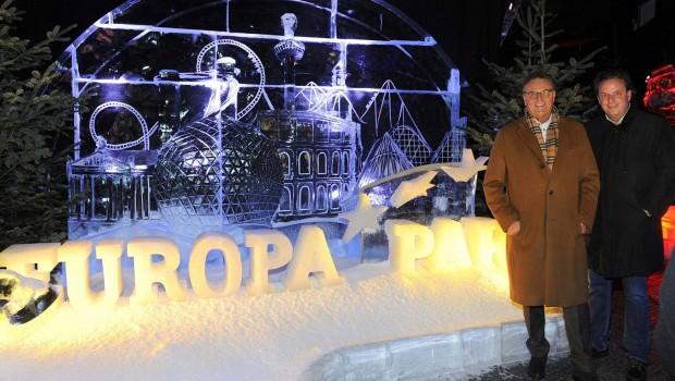 Europa-Park Eisskulptur im Winter 2016