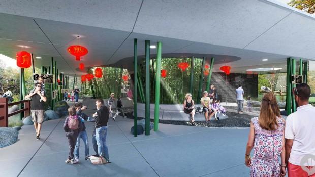 Panda Anlage im Zoo Berlin von innen -Animation