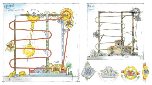Roller Ball Ride Engineers Switzerland Konzeptzeichnung